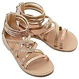 SKABIU Girls Gladiator Sandals Glitter Rhinestone Strappy Open Toe Summer Sandals with Zip Closure Gold Big Kid 3