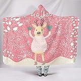 DAMKELLY Store langlebig Kapuzendecke Frohe Weihnachten Superweich -Weihnachten Tragbare Wickel für Kinder für Sofa White 150x200cm