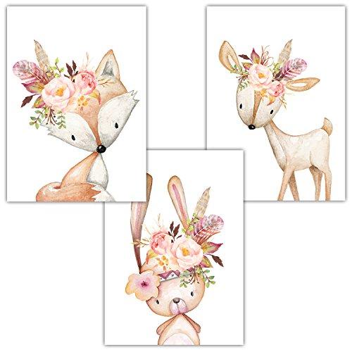 Frechdax® 3er Set Poster DIN A3 ohne Bilderrahmen   Mädchen Junge   Kinderposter Bilder für Kinderzimmer Babyzimmer   Tiermotive Tiere (3er Set Rosa, Blumen, Hase, Fuchs, REH)