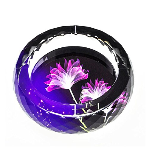 cendrier Xuan - worth having Modèle Violet en 3D Style d'impression couleur cristal rond Accueil Décoration de salon (taille : 25 cm)