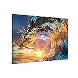 PICANOVA – Cuadro sobre Lienzo Wave Sunset 120x80cm – Impresión En Lienzo Montado sobre Marco De Madera (2cm) – Disponible En Varios Tamaños – Colección Playas
