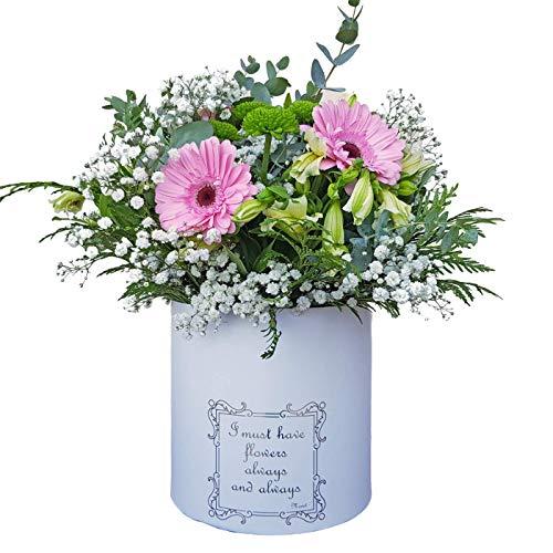 Botanic Dessign Ramo de flores naturales variadas ENTREGA EN 24 HORAS DE LUNES A VIERNES con tres gerberas rosa, 4 alstromelias, crisantemos verde y relleno con eucalipto fresco