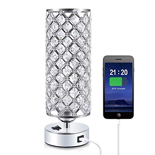 Crystal USB Table Lamp, Aooshine Modern Design Crystal Bedside Table...