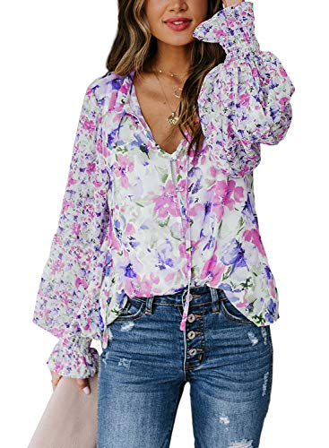 CORAFRITZ Damska bluzka z długim rękawem na co dzień tunika topy dekolt w serek zapinana na guziki bluzka ze sznurkiem kwiatowy nadruk koszula