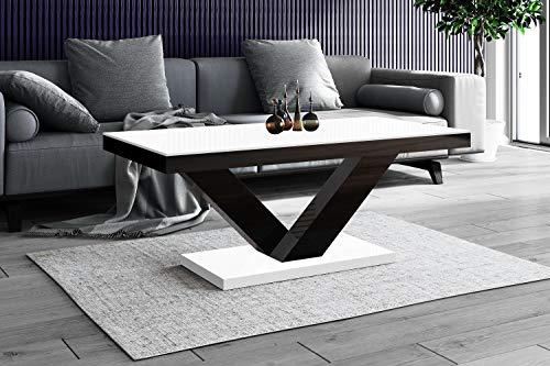 HU Design Couchtisch HV-888 Hochglanz Highgloss Tisch Wohnzimmertisch erhältlich (Weiß-Schwarz Hochglanz)