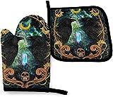 Wicca Wiccan Star Black Crow Diamond Wicca Wiccan Star - Juego de manoplas para horno y soportes para ollas, diseño de gato negro con forma de estrella Wicca