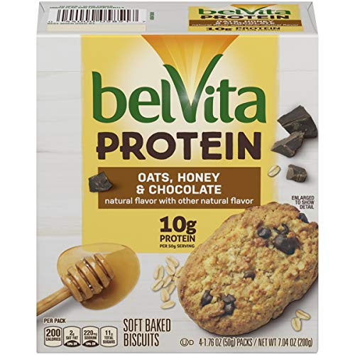 belVita Protein Soft Baked Oats, Honey & Chocolate Breakfast Biscuits, 6 Boxes of 4 Packs (1 Biscuit Per Pack)