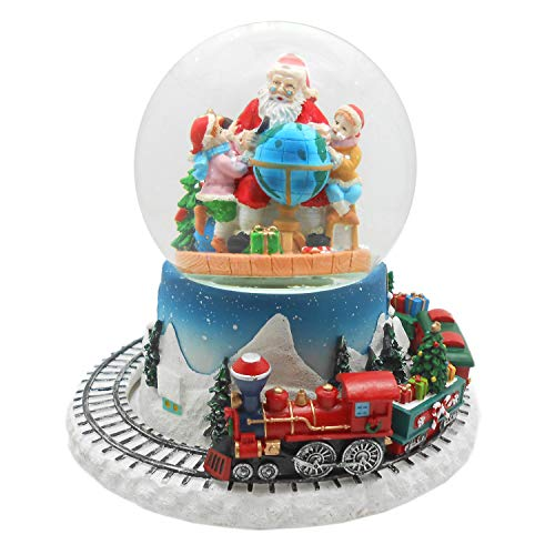 Lightahead Musical Christmas Santa with Children Figurine Water Ball, Snow Globe with The Inside Figurine and Outside Train Revolving in polyresin