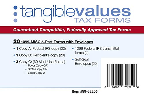 1099 NEC Tax Forms 2020 - Tangible Values 5-Part Kit with Envelopes, 20 Pack Photo #2