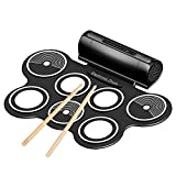 Flexzion Digital Electronic Roll Up Drum Pad Set Kit - Support MIDI Output DTXMania Games, Portable Silicone Sheet 7 Pads with Drum Stick, Foot Pedal Switch, Headphone Jack, USB Charging Audio MP3