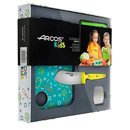 Arcos Kids - Ensemble de cuisine pour enfants (couteau pour enfants + Tablier + planche à découper + protège-doigts) - Couleur Jaune