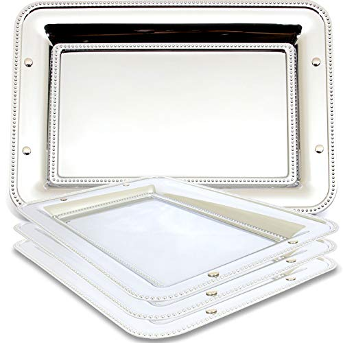 Maro Megastore (Pack of 4) 13.1-Inch x 9.2-Inch Chrome Serving Rectangular Serving Tray Modern Design Decorative Style Holiday Wedding Birthday Buffet Party Food Decor Wine Gift Base 3191 S Ts-016