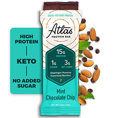 Atlas Protein Bar, Meal Replacement, Keto-Friendly Snack, Grass-Fed Whey, Organic Ashwagandha, Low Sugar, Low Carb, Gluten Free, 10 pack, Mint Chocolate Chip