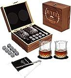 Piedras de Whisky -Juego de regalo de vaso de whisky,8 piedras de vino de granito, 2 vasos de whisky,Caja de Madera,Pinza para Hielo de Acero Inoxidable,Bolsa de Almacenamiento, Regalo para hombres