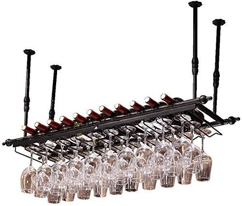 Estantería de vino Rack de copa al revés |Botella de vino Rack Hierro forjado CAMINO DE CAMBIO DE VIGURACIÓN DE VINO |Soporte de exhibición de estante de vino negro |Varilla de colgante telescópica de