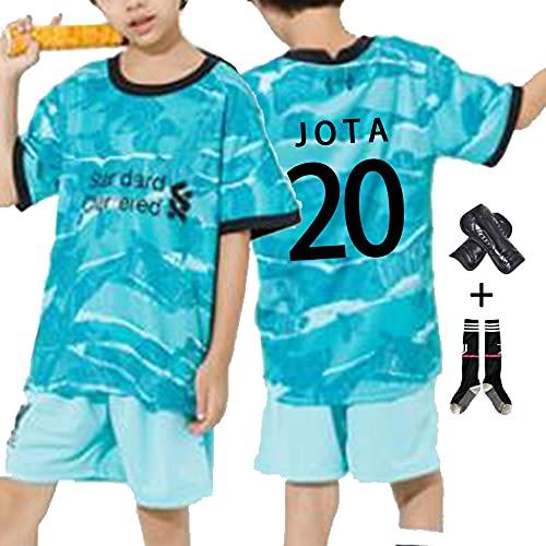 W&F Camiseta de fútbol para niños, Camiseta de fútbol Diogo Jota # 20 con Rodilleras y Calcetines (Color : C, Size : Child-Small)