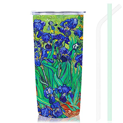 NymphFable 20oz Iris Fiori Tazza Termica da Viaggio Tazze Caffe Cannuccia Coperchio Tazza Termica Inox