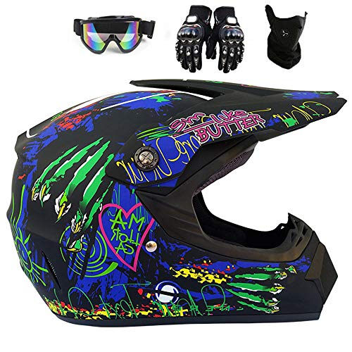 JCLDG Crosshelm Motorrad Helm Motocross Helme City Helme BMX Quad ATV Enduro Schutzhelm Kreative Persönlichkeit Lokomotive Mountainbike Helm, Handschuhe Maske Brille für Männer Damen,L