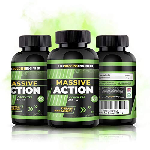 Premium Green Tea Extract 850mg | Green Tea Tablets | Weight Loss Massive Action Formula | Powerful Fat Burner | Daily Men & Womens Supplements | UK Made | 2 Months Supply | Life Success Engineer