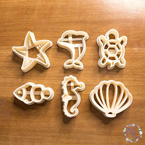 Sea Lover Set aus Keksausstechformen, auch geeignet für Zuckerpaste, Kuchendekoration, handwerklichen Ton, Fondant, Fimo und andere Modellierpasten