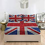 LCGGDB Union Jack Full Size Bed Fitted Sheet Set,Flag on Oak Board Deep Pockets Fitted Sheet with 2 Pillowcase,Print Fitted Sheet Set for Kids & Adults Bedding