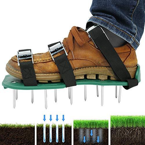harupink Rasenlüfter Schuhe, Rasenbelüfter Nagelschuhe Vertikutierer Rasen Stachelschuhe mit Verstellbare Gurte und Metal, Schuhe für Rasen oder Hof(3 Verstellbare Gurte)