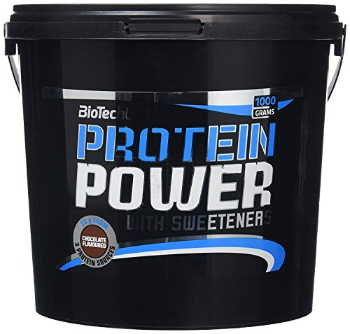 BioTechUSA Protein Power Polvo - Suplementos de proteínas (Polvo, Proteína de soja, Concentrado de proteína sérica, Chocolate, 26 g, 113 kcal, 376 kcal)