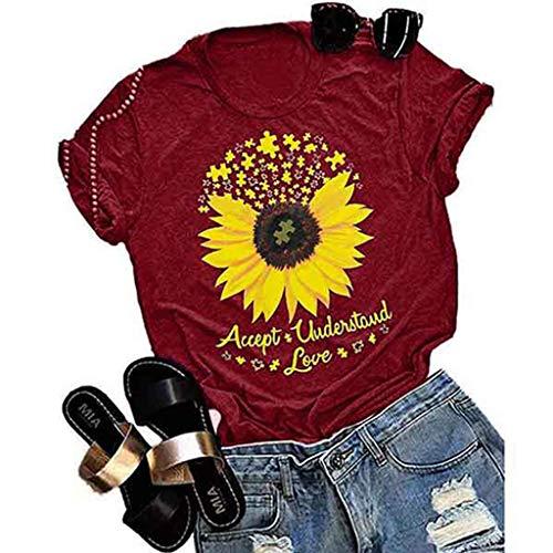 Ulanda Damen T Shirt Accept Understand Love Sunflower Grafikdruck T-Shirt Kurzarm Rundhals Oberteile Tee Shirts Teen Mädchen Sommer Tops Lose Sweatshirt Freizeit Tee