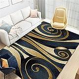 La alfombras Decoraciones para Habitaciones Alfombra geométrica Amarilla marrón Azul Fácil de administrar y Duradero alfombras Comedor alfombras Lavables Salon 120*160cm
