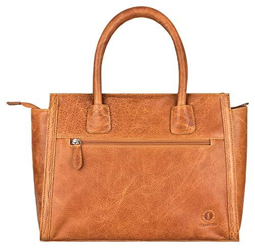 Klondike Clara Handtasche Damen aus Leder, Ledertasche Schultertasche Damentasche, Lederhandtasche Henkeltasche, Cognac