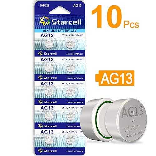 ACT AG13/LR44 Knopfzellen (10Stück) - A76 / L1154 / SR44 / G13 / 357 - 1,5V. AG13X10