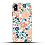 Pikkme Funky Red Pink Floral Flower Cute Girly Background Designer Printed Hard Back Case and Cover for Apple iPhone X/10