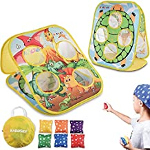 RaboSky Bean Bag Toss Game for Kids Ages 3 4 5 Year Old, Gift for Toddlers Birthday or Christmas, Collapsible Double Sided Indoor Outdoor Cornhole Toy for Preschool Boys, Dinosaur & Turtle Themed