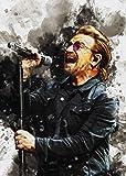 HONGSHUAI Smudge of Bono U2 Impression sur toile sans cadre pour salon et chambre à coucher 20,3 x 30,5 cm