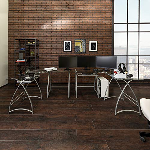 Walker Edison Modern Corner L Shaped Glass Computer Writing Gaming Gamer Command Center Workstation Desk Home Office, 51 Inch, Silver