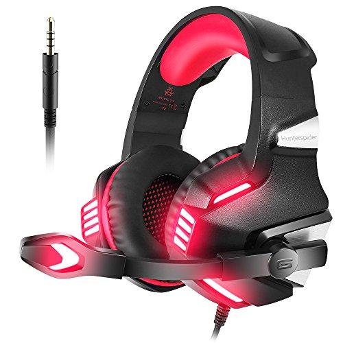 VersionTECH. Auriculares Gaming con Micrófono Aislante,Sonido Envolvente,Luz LED,Volumen Control,Para PS5/PC/Tableta/PSP/PS4/Móvil/Xbox One(Rojo)