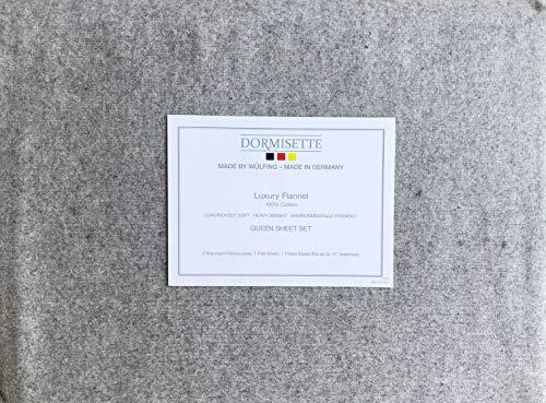Dormisette 4-teiliges Baumwoll-Flanell-Bettwäsche-Set in Deutschland, einfarbig, helles Flanell, Grau (Queen-Size)
