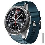 NotoCity Correa Compatible con Samsung Gear S3 Classic/Frontier/Galaxy Watch 46mm, Correa de Reloj de Silicona Suave Compatible con Gear S3 Classic/ S3 Frontier/Galaxy 46mm (Slate)
