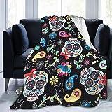 XTGOO Flower Sugar Skull Ultra-Soft Fleece Blanket Flannel Velvet Plush Throw Blanket