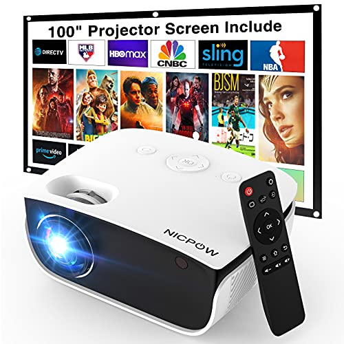 Outdoor Projector with 100 Inch Projector Screen,...