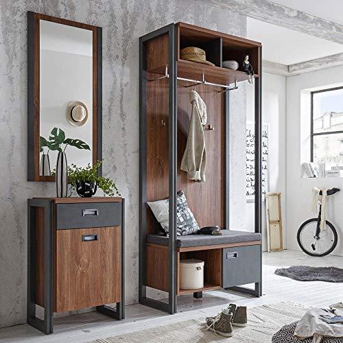 Lomadox Garderobemeubelset in industrieel design voorhoofd-Oak-Nb & leisteenkleurige afwerkingen compacte garderobekast & zitbank bekleding lade-commode & wandspiegel