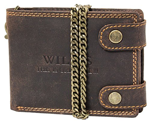 Herren Geldbörse aus Leder Bikerbörse Lederbörse Männerbörse Portemonnaie mit Kette Querformat Druckknopf W08 Dunkelbraun