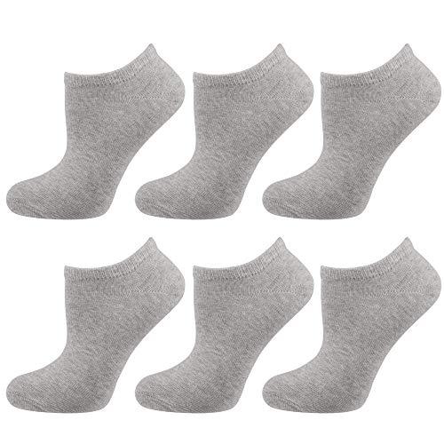 NUR DIE Damen Gummi 6er Pack Socken, hellgraumelange, 35-38