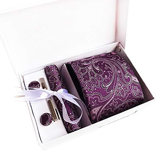 Showu Hombre Paisley corbata – caja conjunto con pañuelo, gemelos y aguja de corbata, ropa y accesorios de hombre