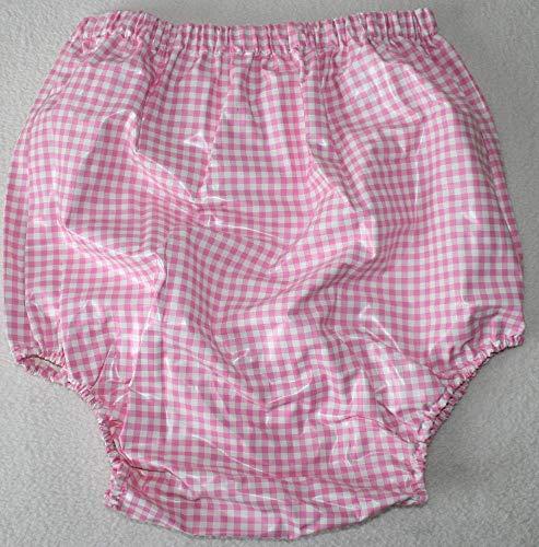 Top PVC Adult Baby Inkontinenz Windelhose Gummihose rosa karo (2XL)