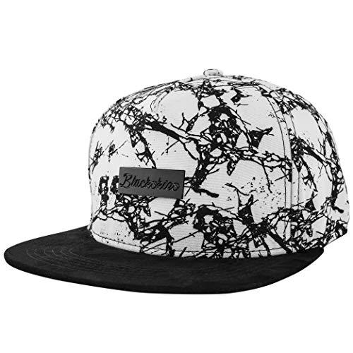 Blackskies Fenrir Snapback Cap Damen Herren Baseball Mütze Kappe Weiß Suede Marmor Wildleder-Imitat