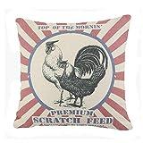 Vintage Arpillera Saco alimentación Aves Corral Throw Pillow Case Funda cojín Home Farmhouse 18x18 Inches (Scratch Feed)