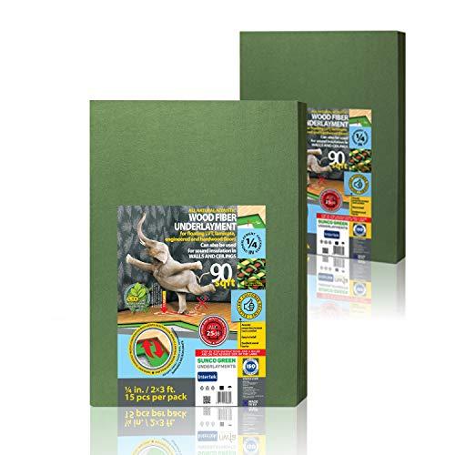 Wood Fiber Flooring Underlayment – 6MM | 1/4 Inch | 180 Sq. Ft – for Laminate, Vinyl, LVT, LVP Hardwood Floor | Natural Sound Insulation Barrier