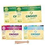 Lot de 4 Pochettes Canson A4 : 2 Pochettes Papier'C' Grain blanc + 1 Pochette Papier de Création Couleurs Vives + 1 Pochette Papier de Création Claires + 1 Règle en Bois Chat Blumie