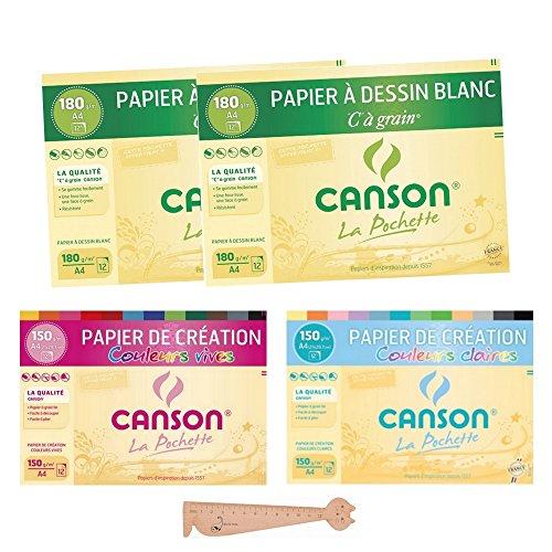 Lot de 4 Pochettes Canson A4 : 2...